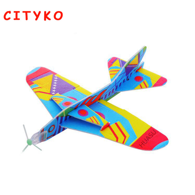 5PCS Flying Back Toys Magic Swing Plane 360 Cyclotron Airplane DIY Assembly Model Educational Toys Kids Game Prizes Best Gift ...