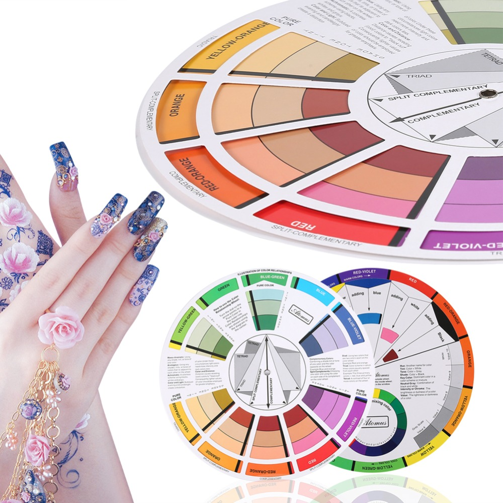 Professional Tattoo Nail Pigment 12 Color Wheel Paper Card Supplies Three-tier Design Mix Guide Round The Central Circle RotatesProfessional Tattoo Nail Pigment 12 Color Wheel Paper Card Supplies Three-tier Design Mix Guide Round The Central Circle Rotates