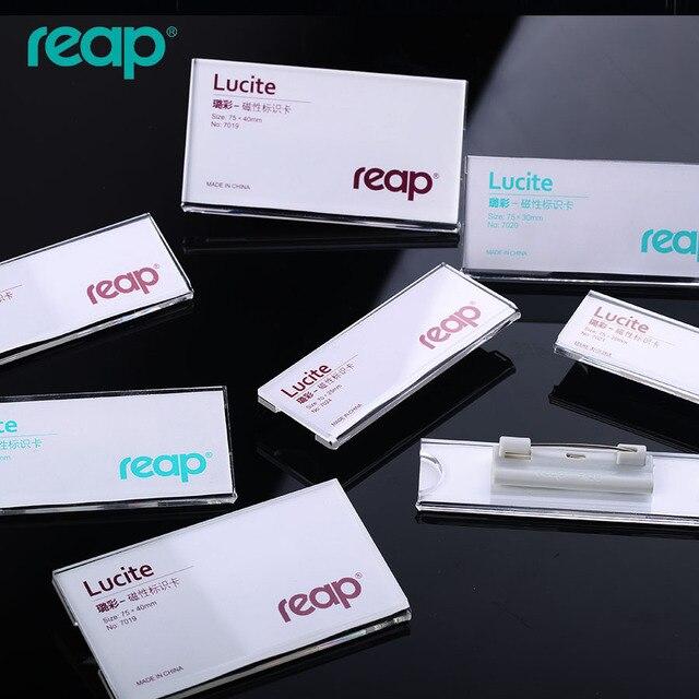 7308 REAP Акриловые Кристалл персонал название бренда контактный зажим промышленности работа карты прозрачный значок работа номерной знак