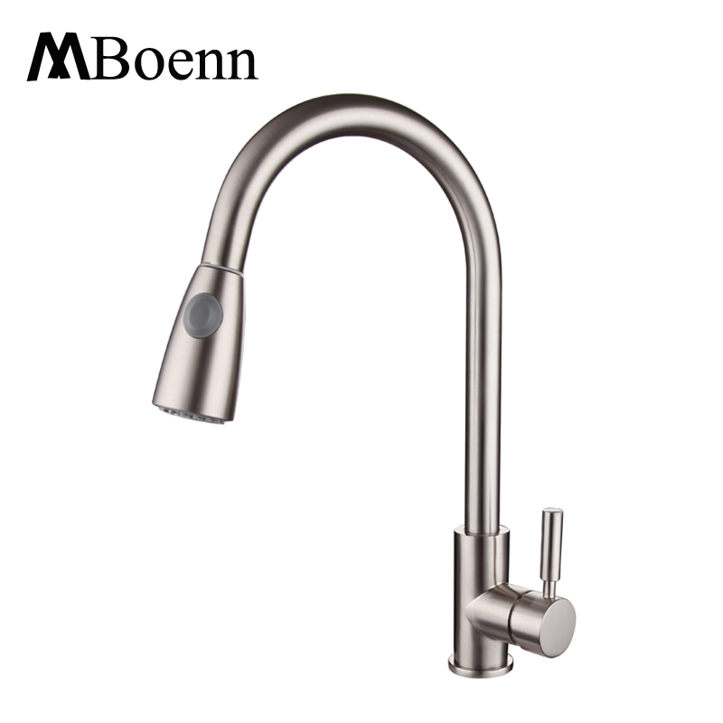 Pull Out Kitchen Faucet Brushed Nickel Sink Mixer Taps With Hot Cold Water Pipe Single Handle Spray Pull-out Faucets pull out kitchen faucets brushed nickel sink mixer tap 360 degree rotatable torneira cozinha mixer taps
