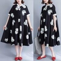 Plus Size Women Vestidos 2019 Bohemian Vintage Polka Dot Print Short sleeve Casual Shirt Dress Cotton Linen Summer Long Dresses