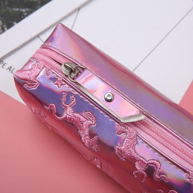 1 шт. Kawaii ПУ пенал Единорог Фламинго лазерной подарок Estuches школьный пенал для макияжа карандаш сумка школьные принадлежности канцелярские