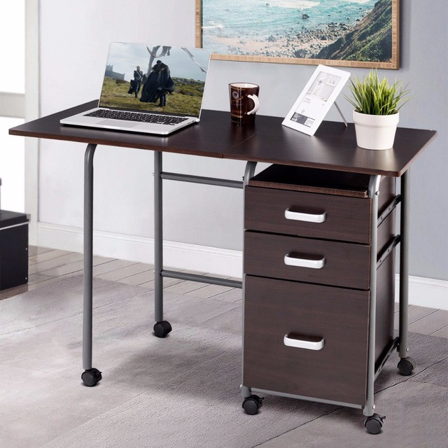 Goplus Folding Computer Laptop Desk Wheeled Home Office Furniture With 3 Drawers New Modern Workstation Desks