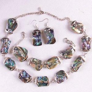 Image 3 - Бесплатная доставка, модные ювелирные изделия, натуральный синий, новая Zealand, абалона, ожерелье, браслет, серьги 1 Набор E819