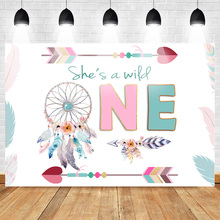 Mehofoto Wild One Birthday Backdrop Boho Girls First Photography Backdrops Feather Arrows Bohemian Vinyl Background