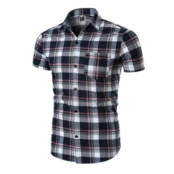 96d2ce680689c5a Мужская рубашка в клетку 2019 брендовая модная Корейская Фланелевая рубашка  с коротким рукавом Повседневная хлопковая рубашка мужская одежд.