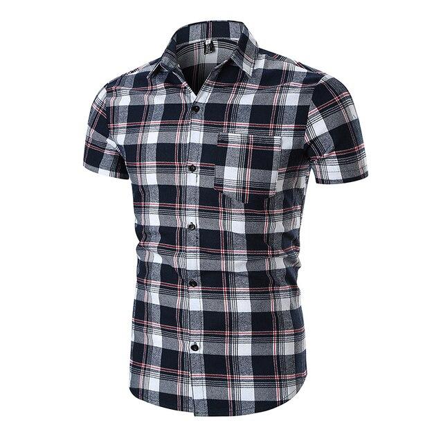 Men Plaid Shirt Short Sleeve Flannel Shirts 2018 Brand Fashion