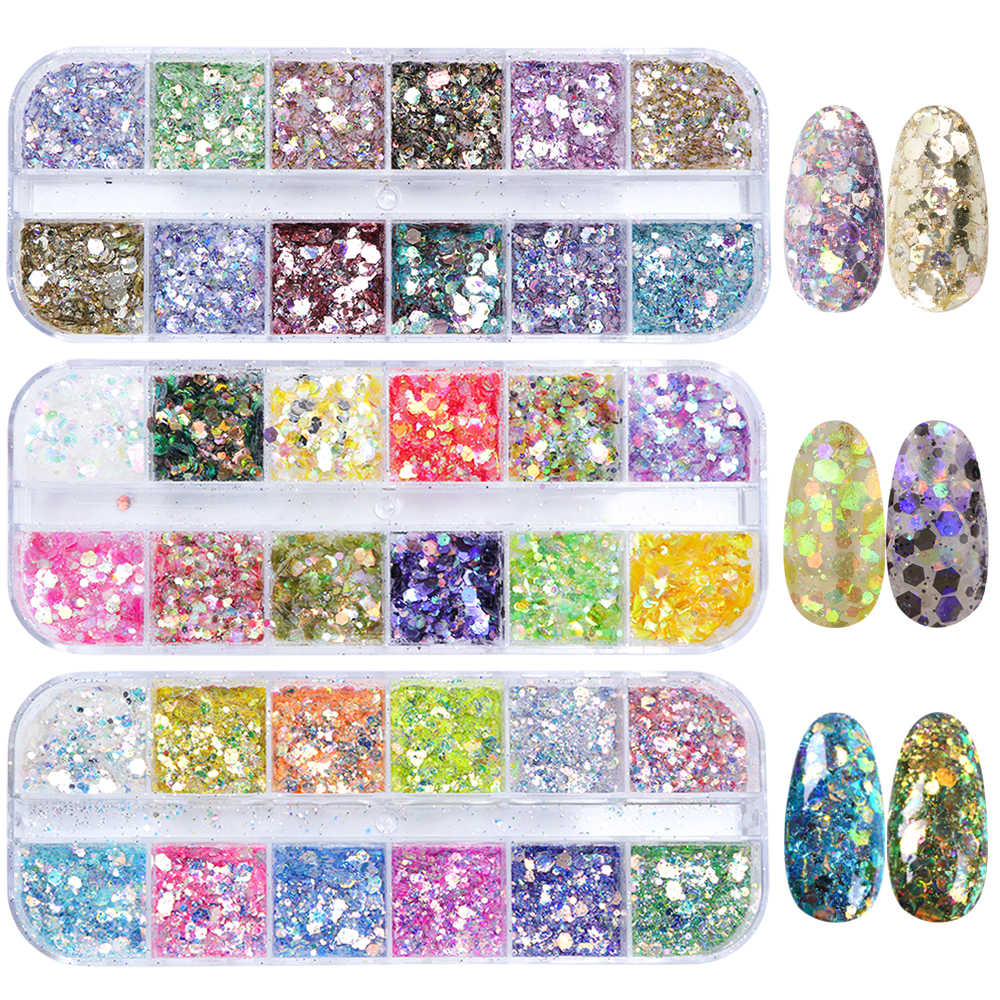 1 Set Shiny Mix Kleur Nail Art Spangles Voor Nagels Vlokken Gebroken Hexagon Holografische Set UV Gel Polish Paillette Decor SA735