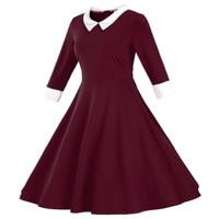 Autumn Plus Size Women Half Sleeve A Line Doll Collar Dresses Office Lady Solid Midi Dress