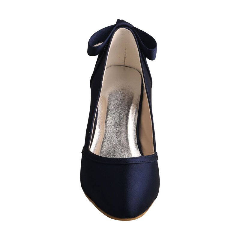 10de67d126 Venus lure Custom Handmade Women Closed Toe Navy Blue Wedding Shoes for  Bride with Bows