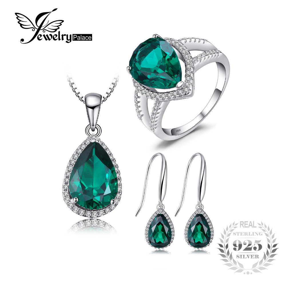 Jewelrypalace Water Drop Created Emerald jewelry 925 Sterling Silver Ring Pendant Earring Stud Women Gift For Woman&Girls 2018 jewelrypalace princess diana jewelry engagement wedding created emerald jewelry 925 sterling silver ring pendant earring