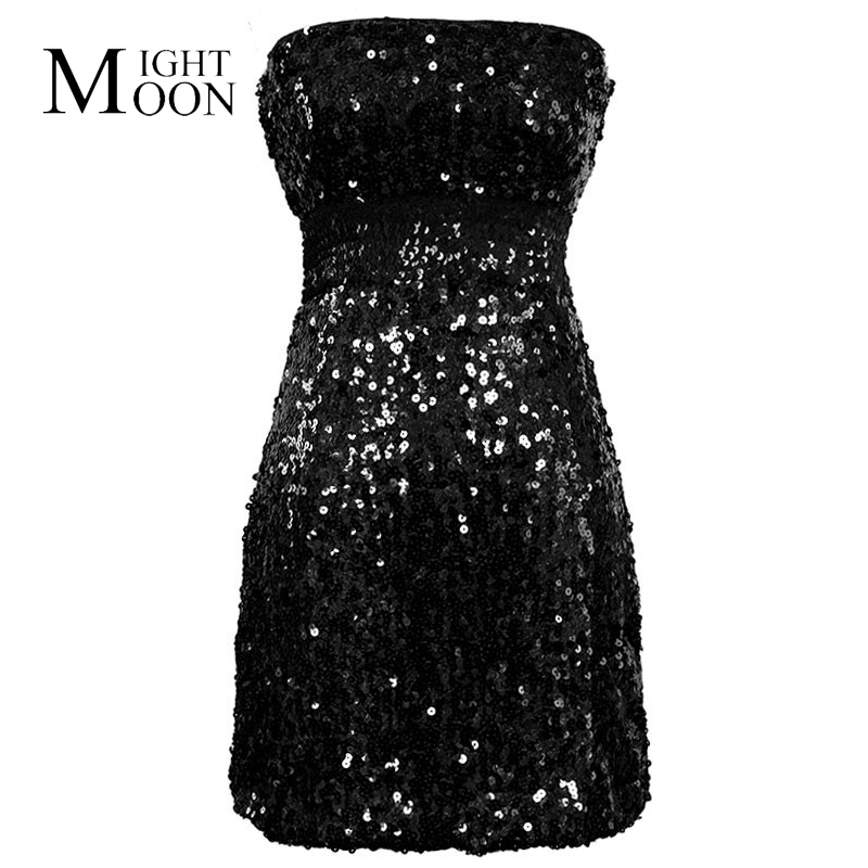 MOONIGHT Sequin Dress Hight Waist Strap Sheath Bodycon Conscious Tight Sexy Dress Women Party Night Club Sexy Dress