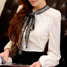 dabuwawa long sleeved shirt 2016 new autumn winter casual slim fashion temperament bowknot office blouse women pink doll
