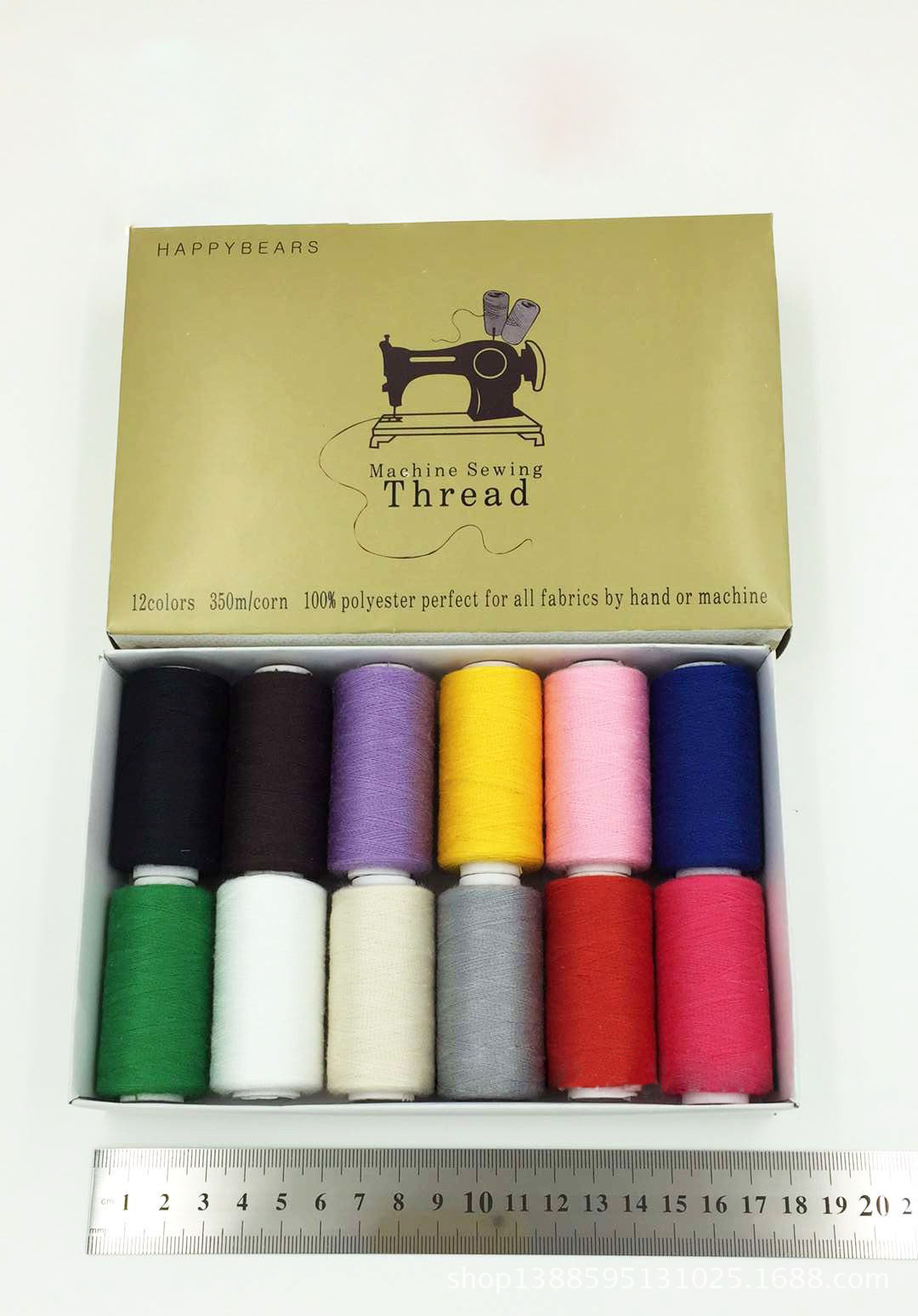 40s/2 polyester Sewing Threads 350 meters High Strength embroidery thread 12pcs/box Sewing Yarn