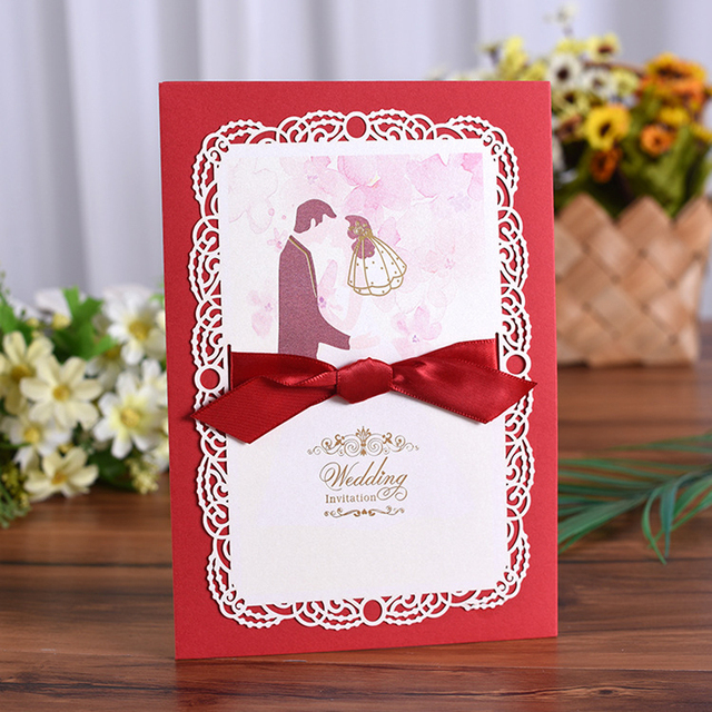 50 Pieces Lot New Classic Bride And Groom Wedding Invitation Cards