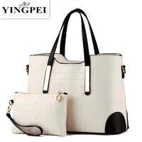 2 PCS Set Women Bag Crocodile Pattern Composite Bag Vintage Women Messenger Bags Shoulder Handbag Purse