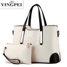 цена на 2 PCS/Set Women Bag Crocodile Pattern Composite Bag Vintage Women Messenger Bags Shoulder Handbag Purse Wallet Leather Handbags