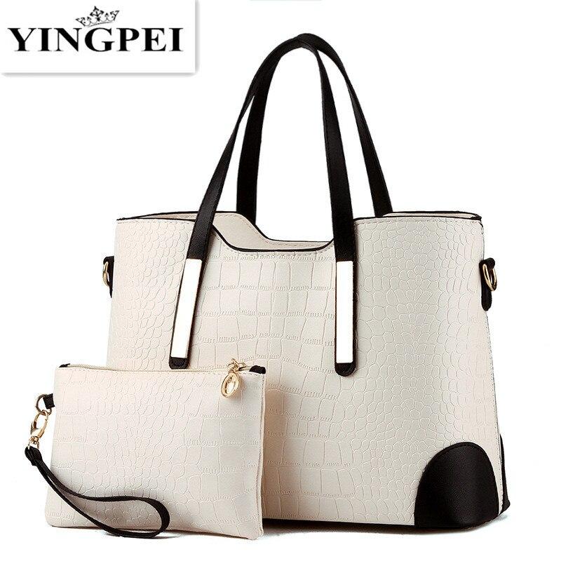 YINGPEI <font><b>Women</b></font> Bag Vintage Messenger Bags Shoulder <font><b>Handbag</b></font> <font><b>Women</b></font> Top-Handle Crocodile Pattern Composite Bag Purse Wallet Leather