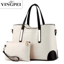 YINGPEI mujeres bolso Vintage mensajero bolsos hombro bolso mujeres Top-Handle cocodrilo patrón compuesto bolso monedero cuero