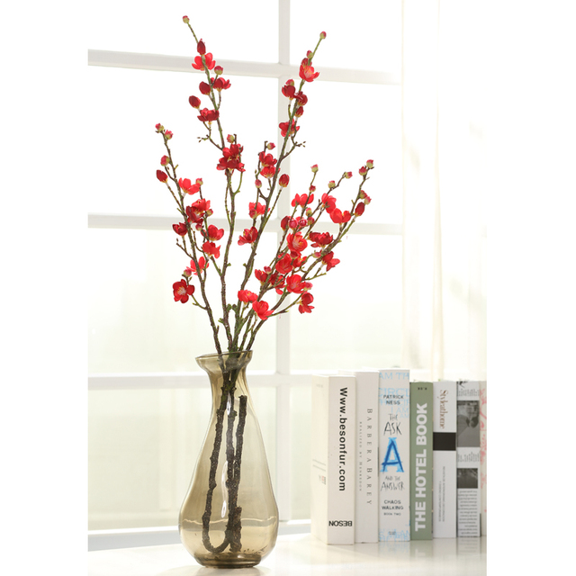 Aliexpress buy winter artificial flowers fake plum peach winter artificial flowers fake plum peach blossom branch wintersweet silk flowers vase arrangement wintersweet floral branches mightylinksfo