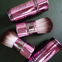 1pcs Portable Purple Cute Soft Wavy Synthetic Hair Retractable Kabuki Blush Bronzer Shimmer Powder Brush