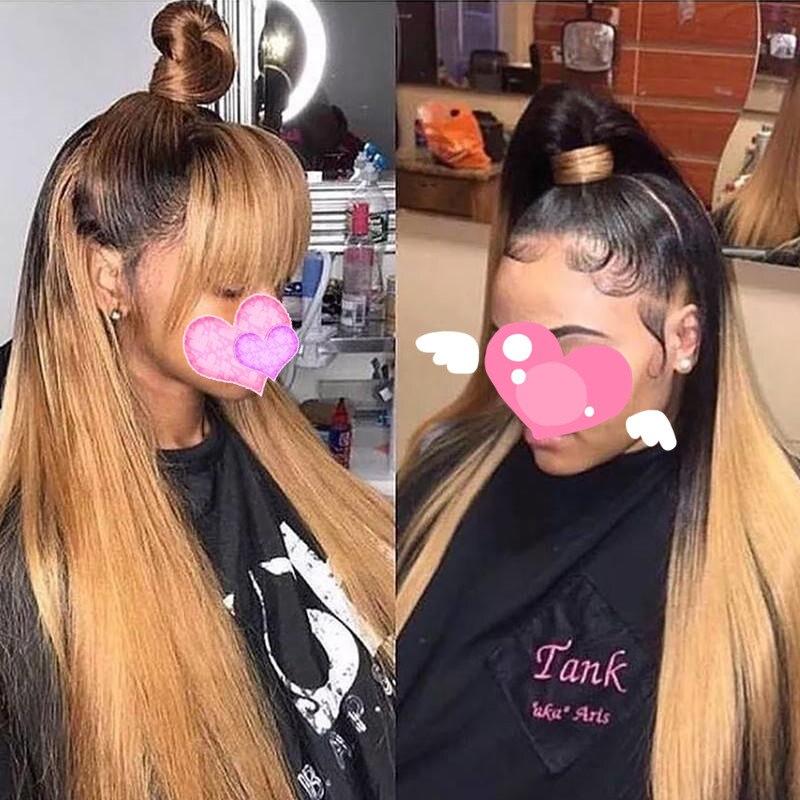Chaud beauté cheveux 250 haute densité dentelle avant cheveux humains perruques dentelle frontale perruque avec Clip dans Bang droite 1b/613 1b/brun perruques - 2