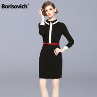 Borisovich Office Lady Black Pencil Dress New Brand 2018 Autumn Fashion Peter Pan Collar Elegant Slim Women Mini Dresses N288
