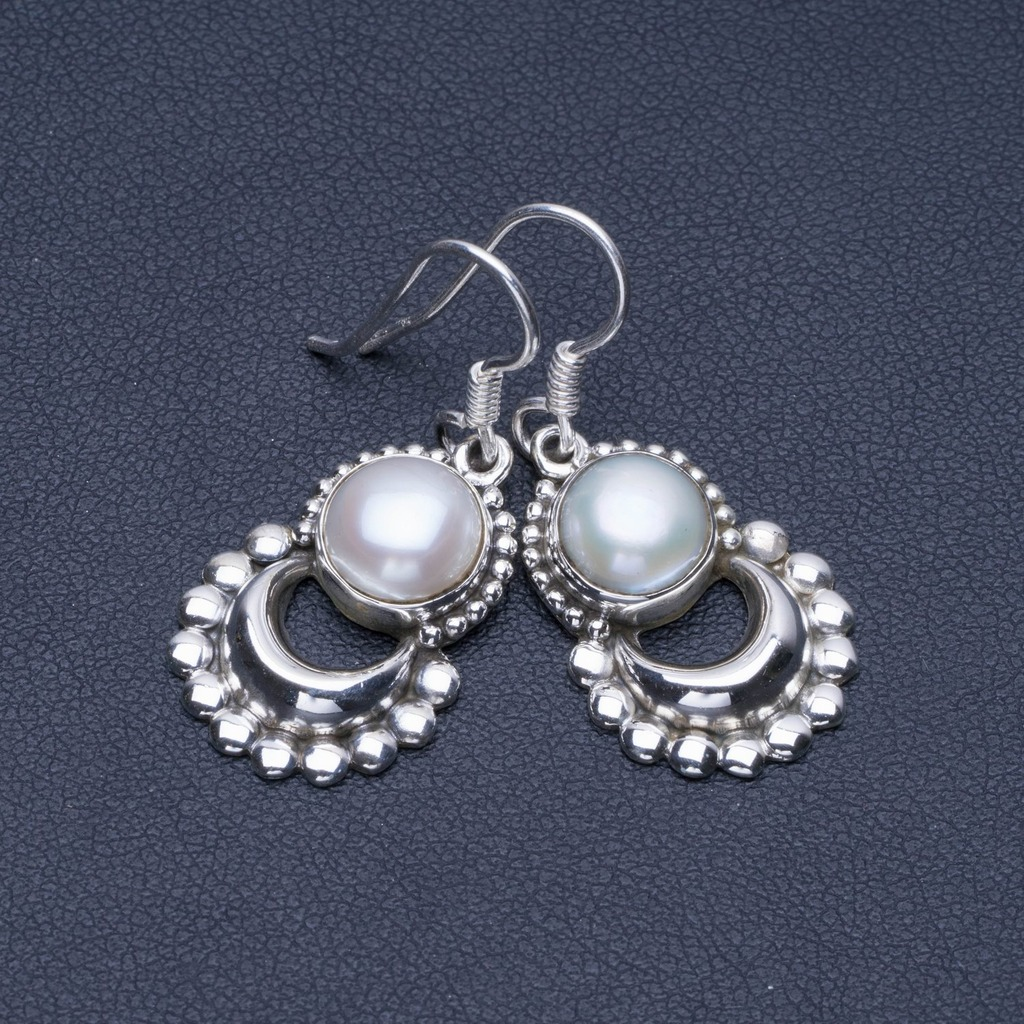 Natural River Pearl 925 Sterling Silver Earrings 1 1/4 Q1699Natural River Pearl 925 Sterling Silver Earrings 1 1/4 Q1699