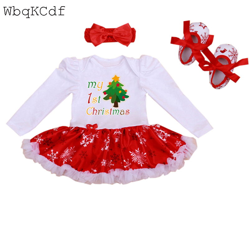 3PCS Newborn Infant Baby Girls Outfit Clothes Romper Jumpsuit Bebes First Christmas Romper Set Mesh Ruffle Girl Christening Gown