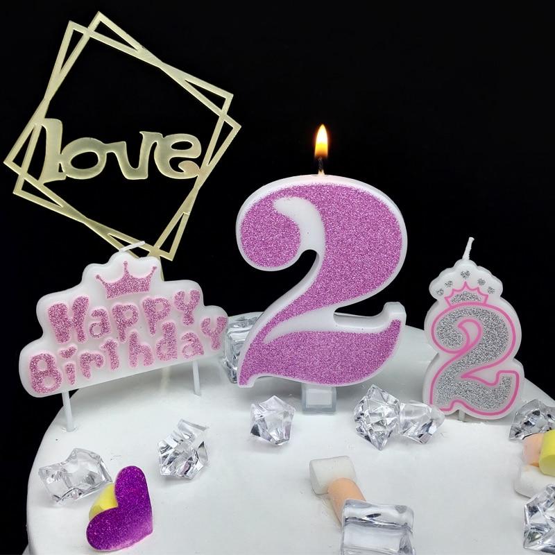 Bougie numérique à paillettes roses Extra Large 1 pièce   Décoration de gâteau danniversaire de princesse, Confession de princesse 520 garçon fille nombre 0-9