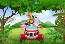 Laeacco Jungle Party Elephant Lion Monkey Car Baby Photography Background Customized Photographic Backdrops For Photo Studio