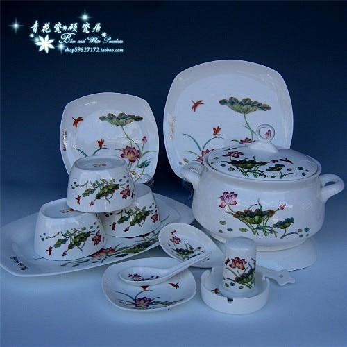 Jingdezhen ceramic porcelain, bone china tableware suit for your charge Phnom Penh ceramic bowls 56 head tableware