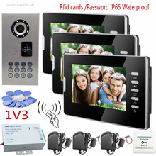 Cheapest prices Rfid Cards/Code Video Door Phone IP65 Waterproof HD CCD Camera Doorphone Infrared Night Vision With 7inch Color 3 Screens System