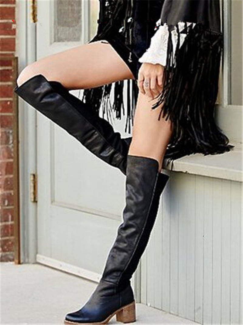 Spring Autumn Hot Sale Boots High Heels Suede Boots Cover Knee High Boots Sapatos Femininos Botas women Shoes Woman Flat Boots