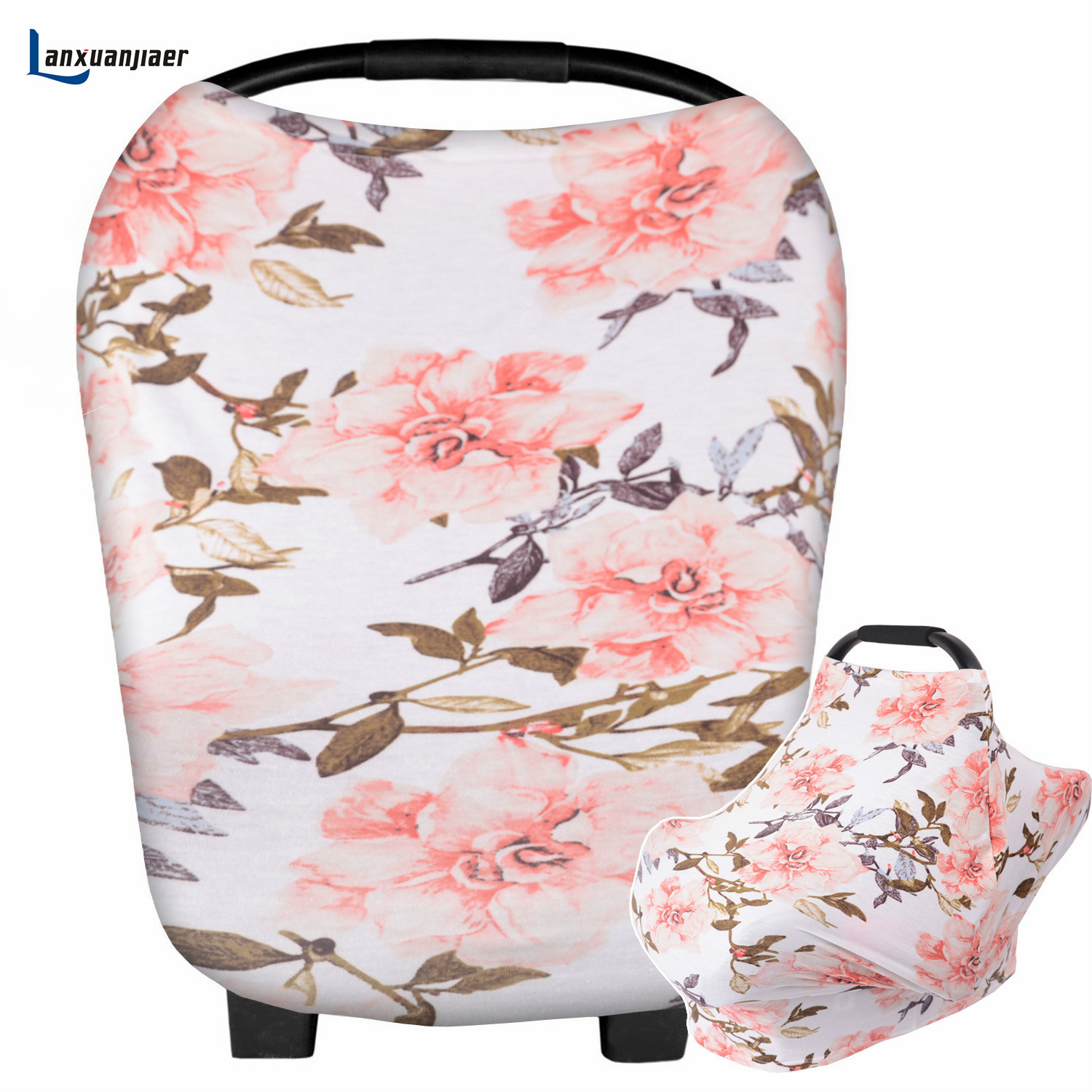 Baby Nursing Cover For Boys & Girls Breathable & Stretchy Baby Car Seat Canopy Cover Ideal For Public Breastfeeding& Stroller