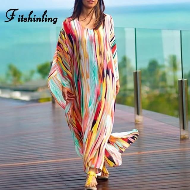 Satilik Fitshinling Kravat Boya Sifon Uzun Elbise Plaj Kiyafeti