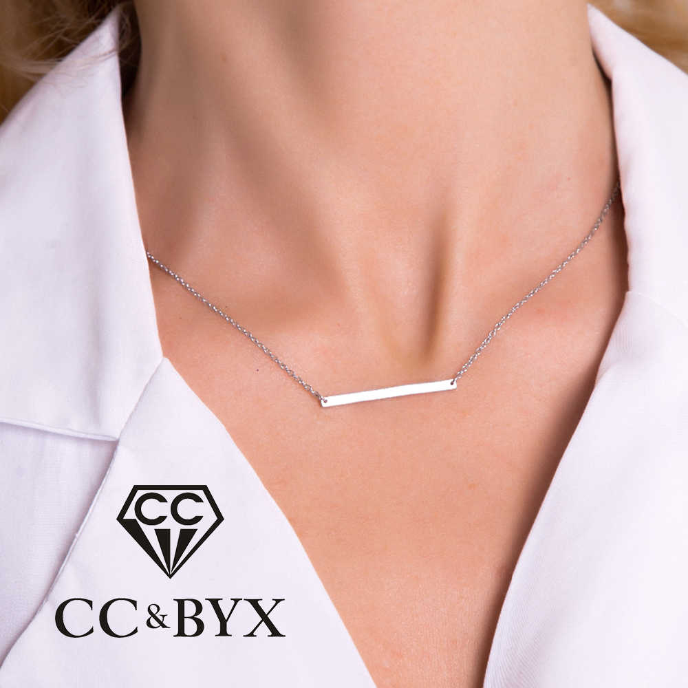 CC Stainless Steel Necklace Simple Accessories Classic Long Link Chain Square Necklaces Gold Color Jewelry for Women