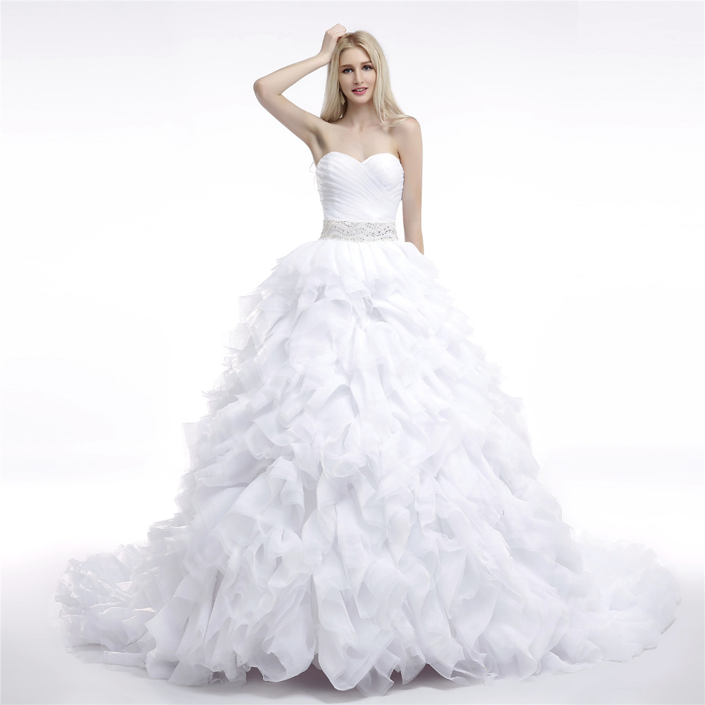 Favordear Sweetheart Sleeveless Lace Up Back Pleat Beading Sash Ball Gown  Wedding Dress 977096ed2c2f