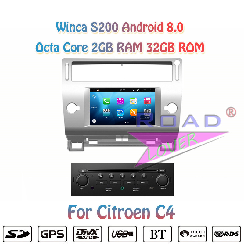 Winca S200 <font><b>Android</b></font> 8.0 Auto DVD Player Für <font><b>Citroen</b></font> <font><b>C4</b></font> 2005 <font><b>2006</b></font> 2007 2008 2009 2010 2011 Stereo GPS Navigation Magnitola zwei Din image