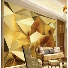 Custom wallpaper luxury gold geometric polygon 3d stereo European TV background wall high-grade waterproof material
