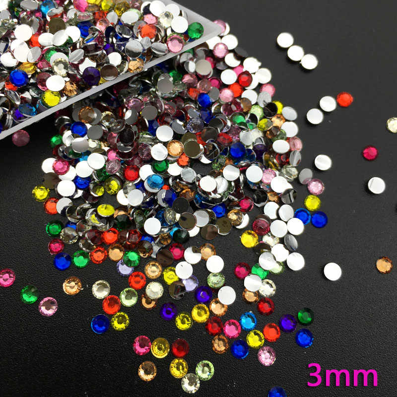 Mix Size Nail Art Rhinestones  Colorful Crystal Glitters Nails Shoes And Wedding   Decoration  2,3,4MM