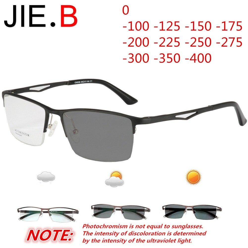 Titanium alloy ultra light half frame mens business glasses myopia sports photochromism