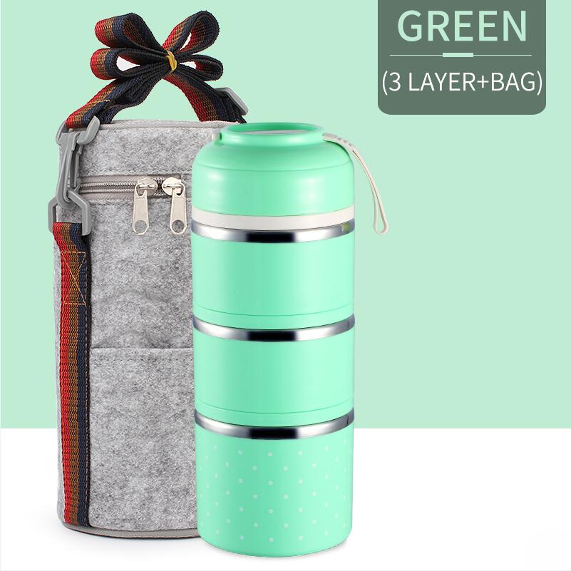Милые детские Термальность Коробки для обедов герметичность Нержавеющая сталь Bento box для детей Портативный Пикник школа Еда контейнер Box - Цвет: Green 3 With Bag