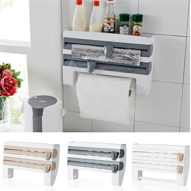 Handtuchhalter Küche | Neue Heisse Kuhlschrank Frischhaltefolie Rack Regal Mit Papierspender