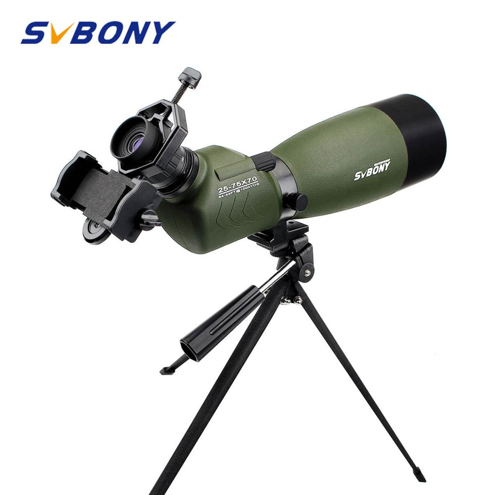 SVBONY 20 60x60 25 75x70mm Spotting Scope SV14 Zoom BAK4 45De Angled Birdwatch Telescope Monocular Phone