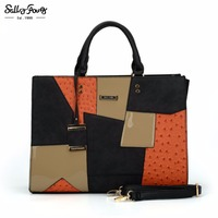 Sally Young International Brand Business Patchwork Tote Women Bag Fashion Metal Pendant Lady Designer Shoulder Handbags