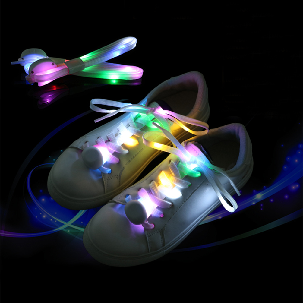 Chic Luminous Shoelaces Glowing LED Shoe String Fashion Light Up Laces Sneaker 5 Color Glowing Patterns1 Pair Shoes Party Lights