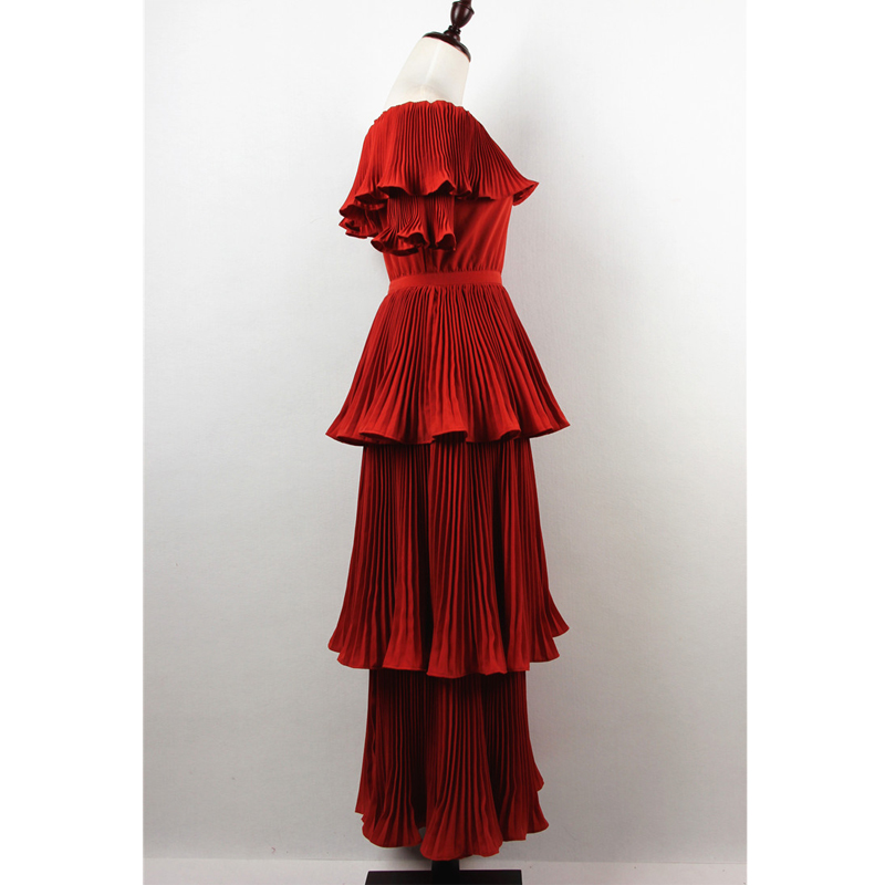 Plissée Manches Haute Élégante 2018 Vocation Longue Qualité Robes Casual Robe Rouge Femme Couleur Partie Ruches Pétale Sexy dIqwq0