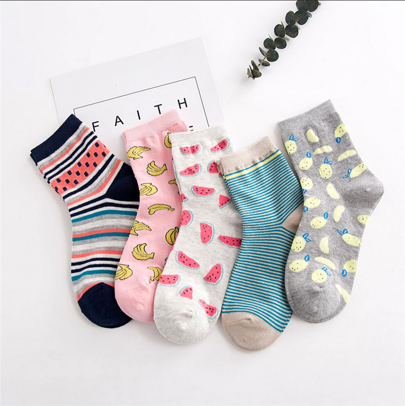 Cute Cartoon Fruit Print Avocado Banana Cherry Peach Girls Kawaii Socks Korean Harajuku Embroidery Pile Heap Funny Socks