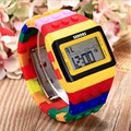 2016 New Fashion Square Dial LED Bracelet Digital Watches Unisex Colorful Child Clock Womens Wrist Watch Sports Wristwatch